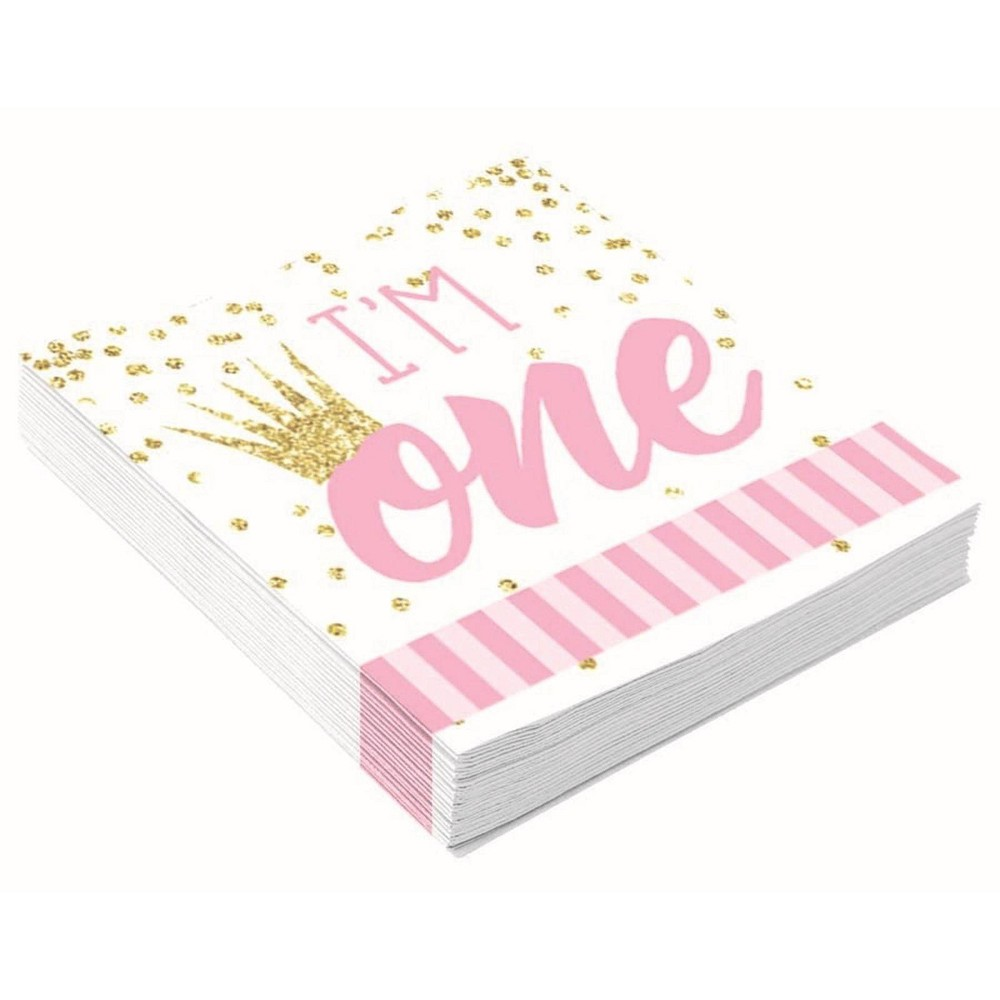 Image of 16ct 1st Birthday Disposable Napkin Pink/White
