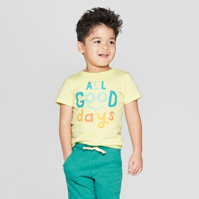 Toddler Boys' Short Sleeve All Good Days T-Shirt - Cat & Jack™ Yellow 18M