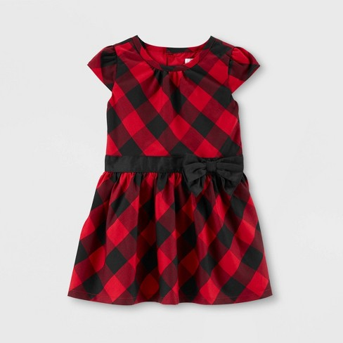 Toddler Girls' Holiday Plaid Drop Waist Dress - Just One You® made by carter's Red - image 1 of 1