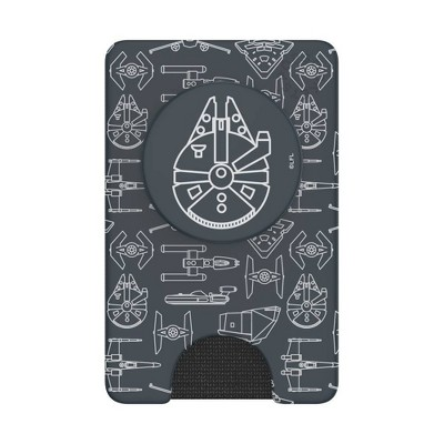 PopSockets PopWallet+ (with PopGrip Cell Phone Grip & Stand) - Star Wars Millennium Falcon