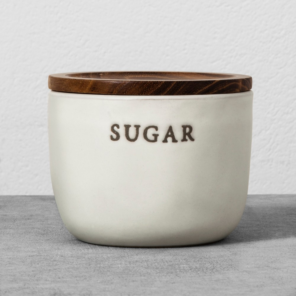 Stoneware Sugar Cellar With Wood Lid Hearth 38 Hand 8482 With Magnolia