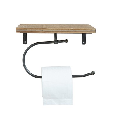 Wood & Metal Wall Toilet Paper Holder - 3R Studios