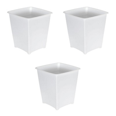 Rubbermaid 8 Quart Traditional Square Top Bedroom, Bathroom, and Office Wastebasket Trash Can, White (3-Pack)