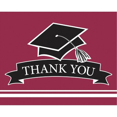 50ct Graduation School Spirit Burgundy Red Thank You Notes