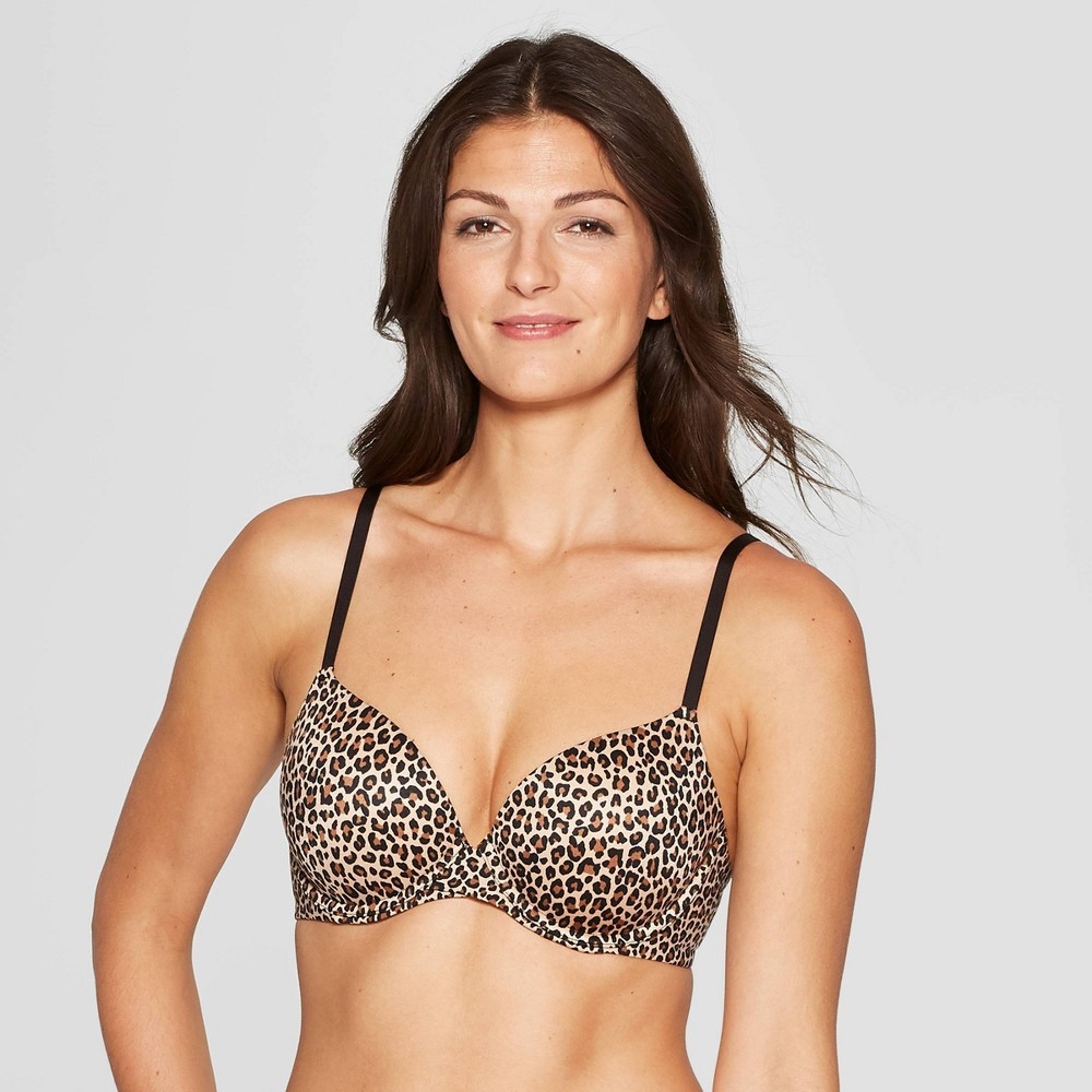 Womens Leopard Print Full Coverage Icon Lightly Lined T-Shirt Bra - Auden Animal Print 34B Reviews