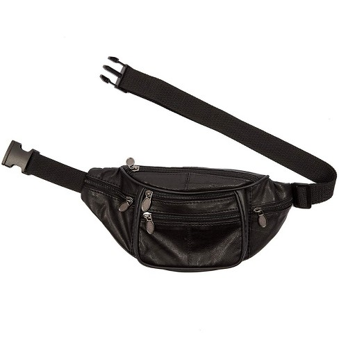 Juvale Fanny Pack, Genuine Sheep Leather Waist Bag Pouch with Multiple Pockets, for Travel Hiking Running Cycling, Black - image 1 of 4