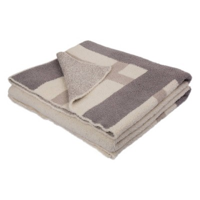 """60"""" x 50"""" Knitted Polyester Geometric Pattern Feather Yarn Throw Blanket - Glitzhome"""
