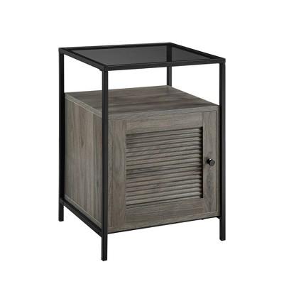 "18"" Fluted Door End Table Slate Gray - Saracina Home"