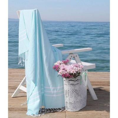 Alara Pattern Pestemal Beach Towel Aqua/White - Linum Home Textiles