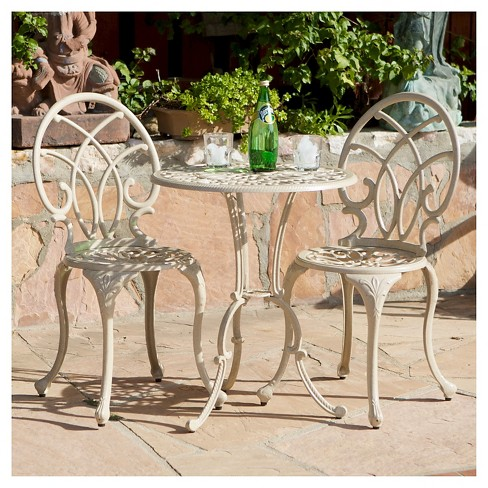 Anacapa 3pc Cast Aluminum Patio Bistro Set Sand Christopher Knight Home Target