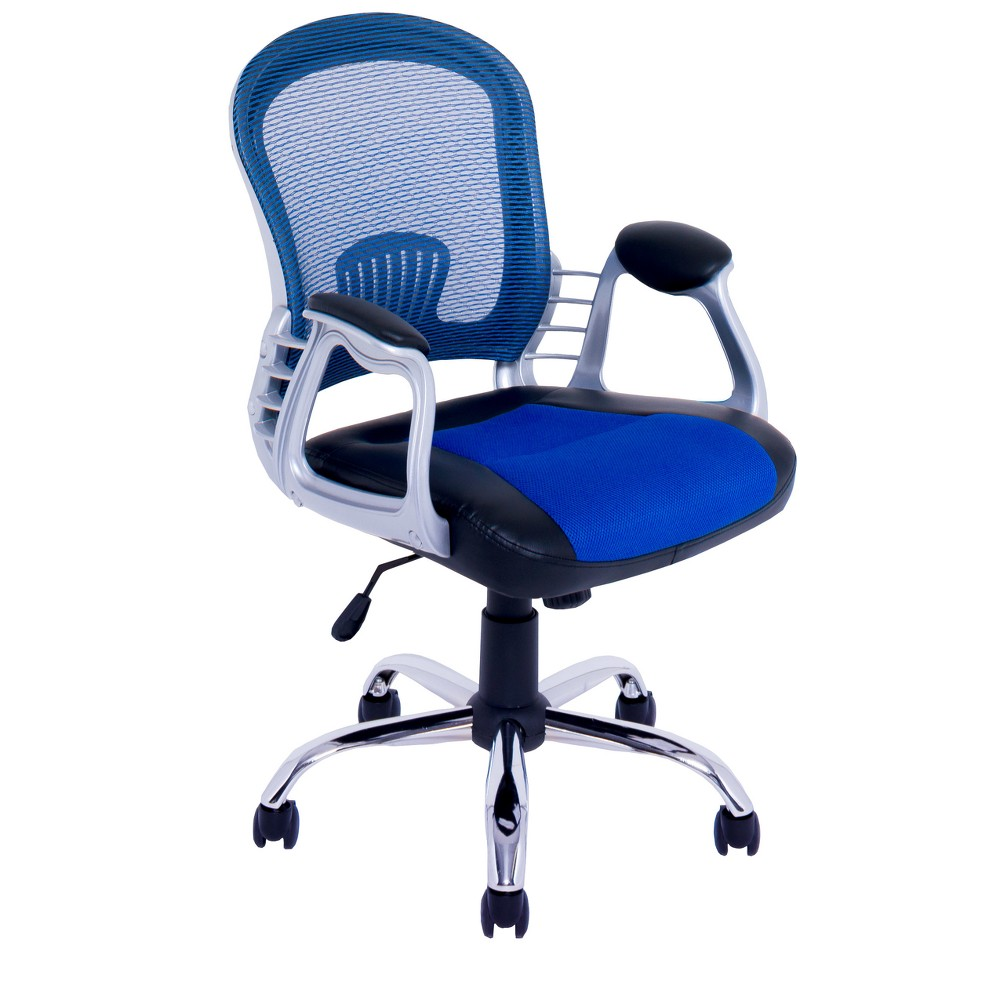 Workspace Leatherette and Mesh Office Chair Blue - CorLiving