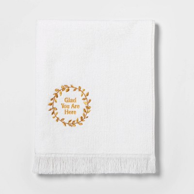 Terry Glad You Are Here Embroidered Hand Towel White/Gold - Threshold™