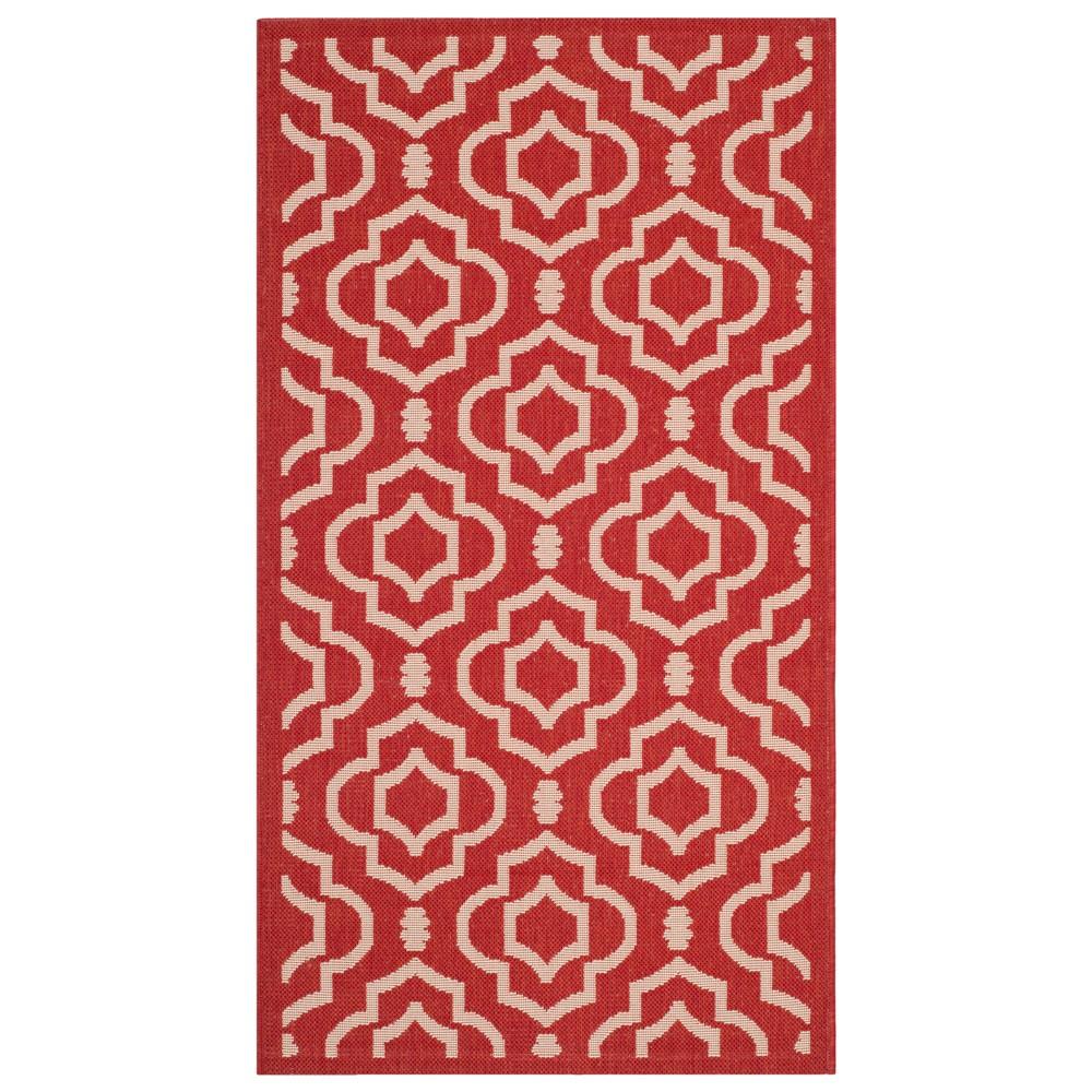 27X5 Rectangle Davos Outdoor Patio Rug Red/Bone - Safavieh Top