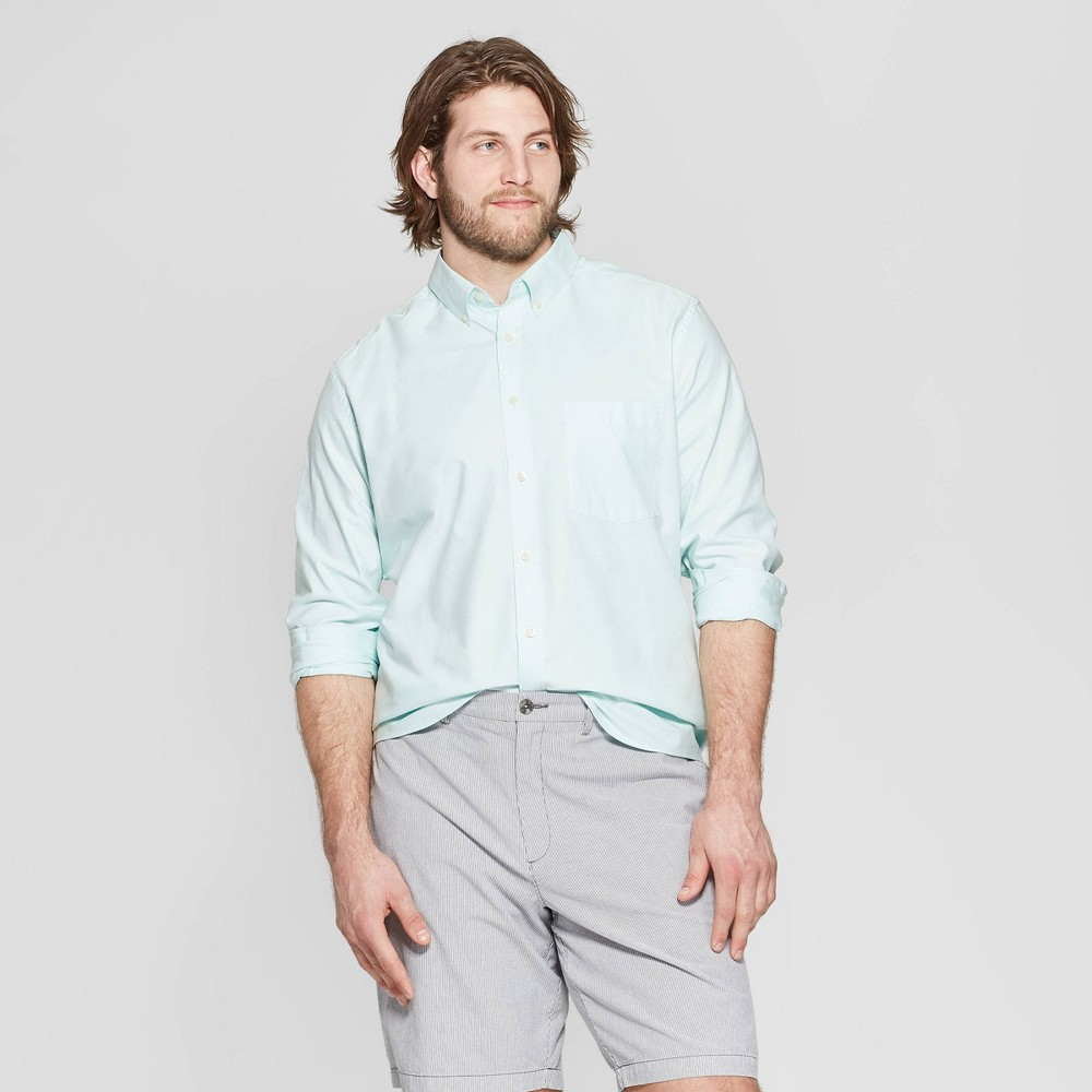 Men's Big & Tall Standard Fit Long Sleeve Whittier Oxford Button-Down Shirt - Goodfellow & Co Alpine 3XB, Green
