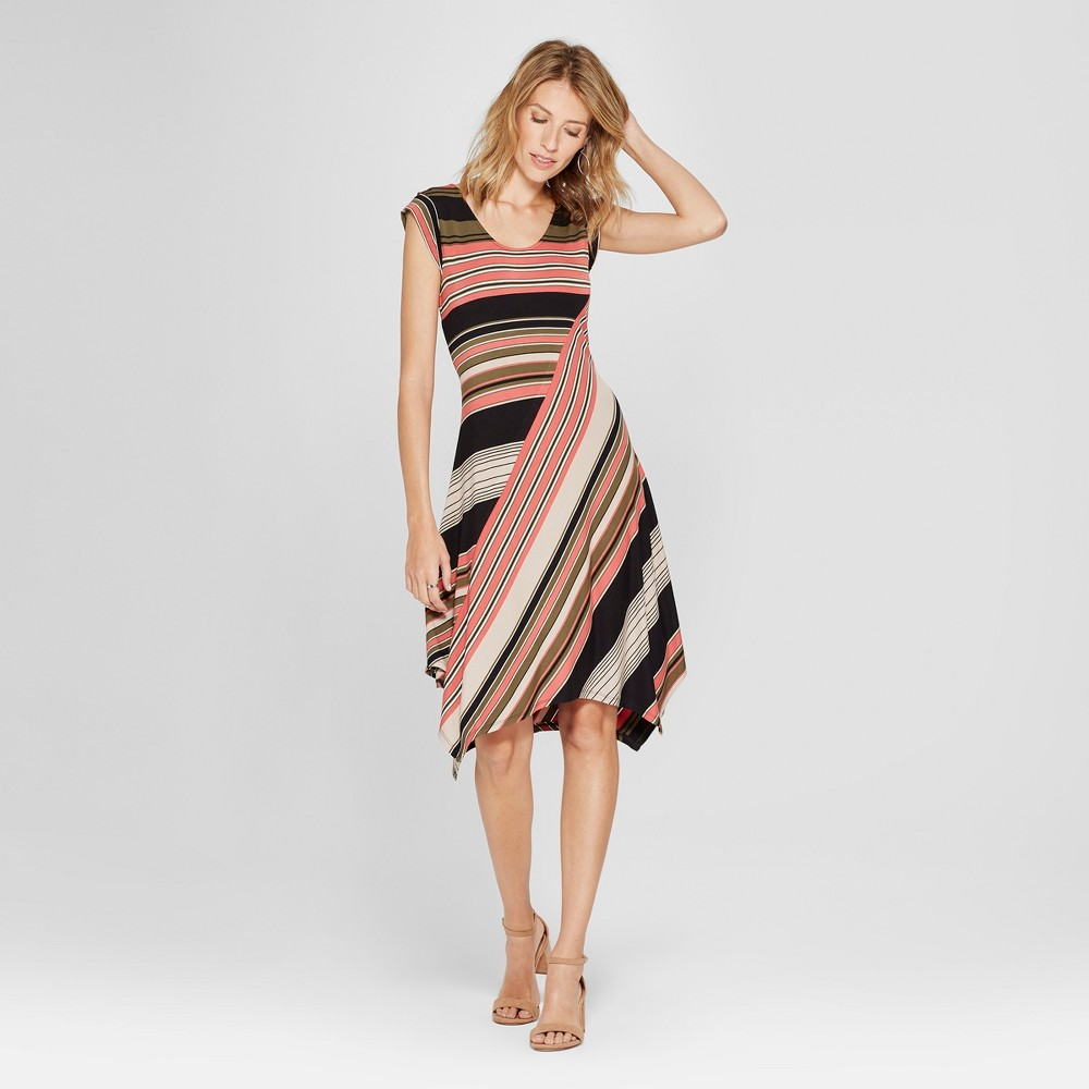 Women's Striped Handkerchief Hem Dress - Spenser Jeremy - Pink/Green M, Multicolored