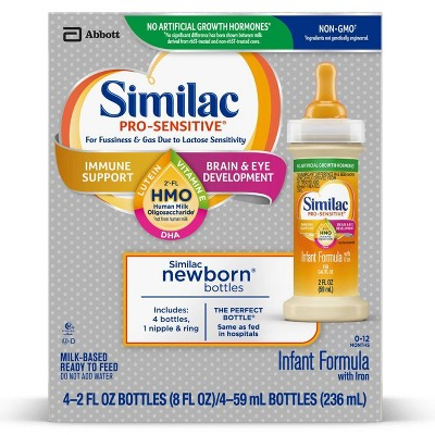 Similac Pro-Sensitive Non-GMO Infant Formula with Iron Bottles - 4ct/2 fl oz Each