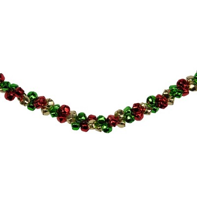 """Northlight 5' x 1"""" Green and Red Festive Jingle Bell Artificial Christmas Garland"""