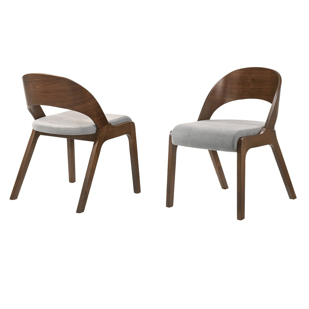 Set of 2 Polly Mid-Century Upholstered Dining Chairs Walnut Finish - Armen Living The Armen Living Polly dining chairs lend themselves to the mid-century modern style with the open rounded back and seamless wooden frame. These stylish chairs easily work in any room in your home. Sold as a set of 2, the Polly dining chairs can be used as accent chairs or dining chairs. The Armen Living Polly dining chairs are available in a Black or Walnut finish. Gender: unisex. Pattern: Solid.