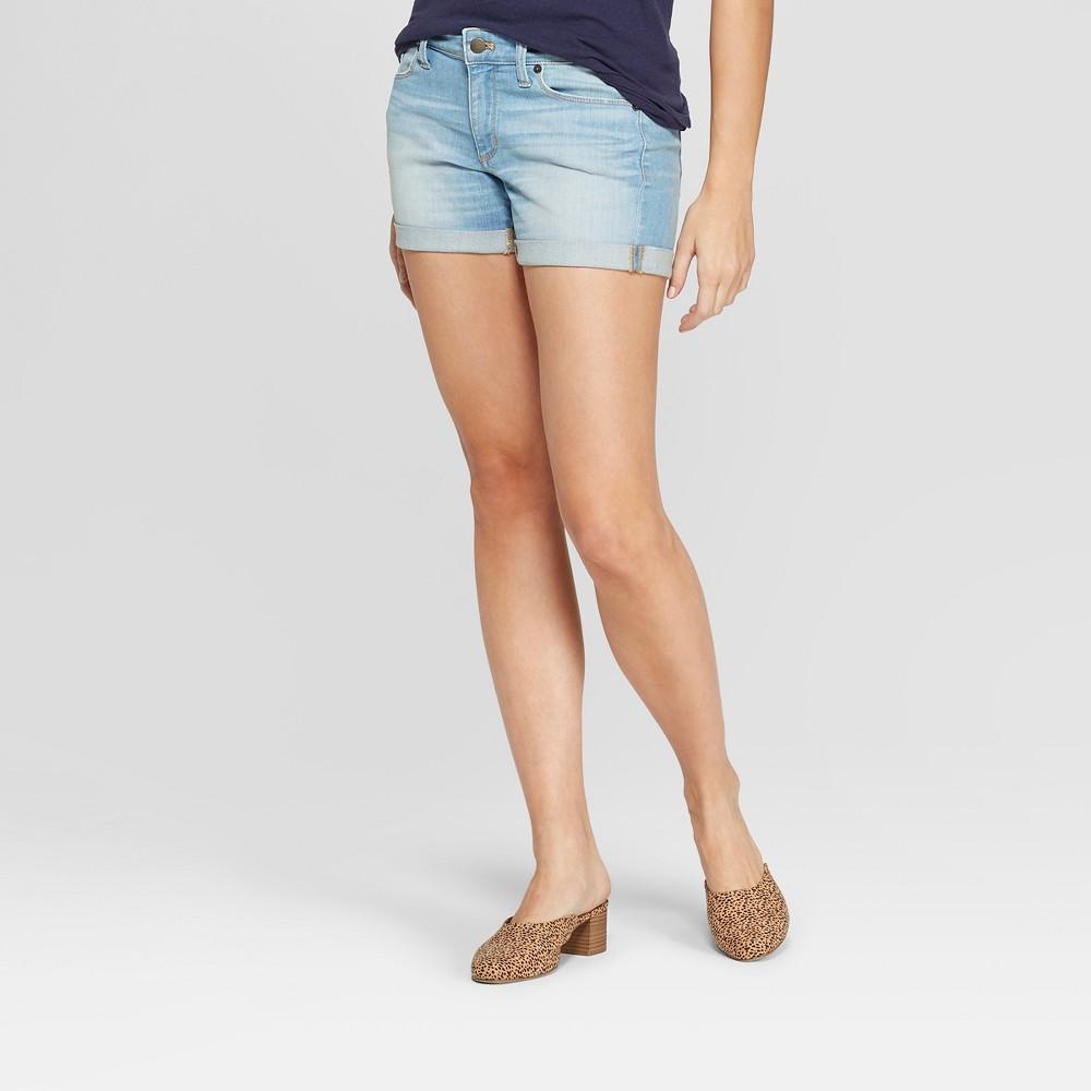 Women's Mid-Rise Raw Cuff Midi Jean Shorts - Universal Thread Medium Wash 18, Blue