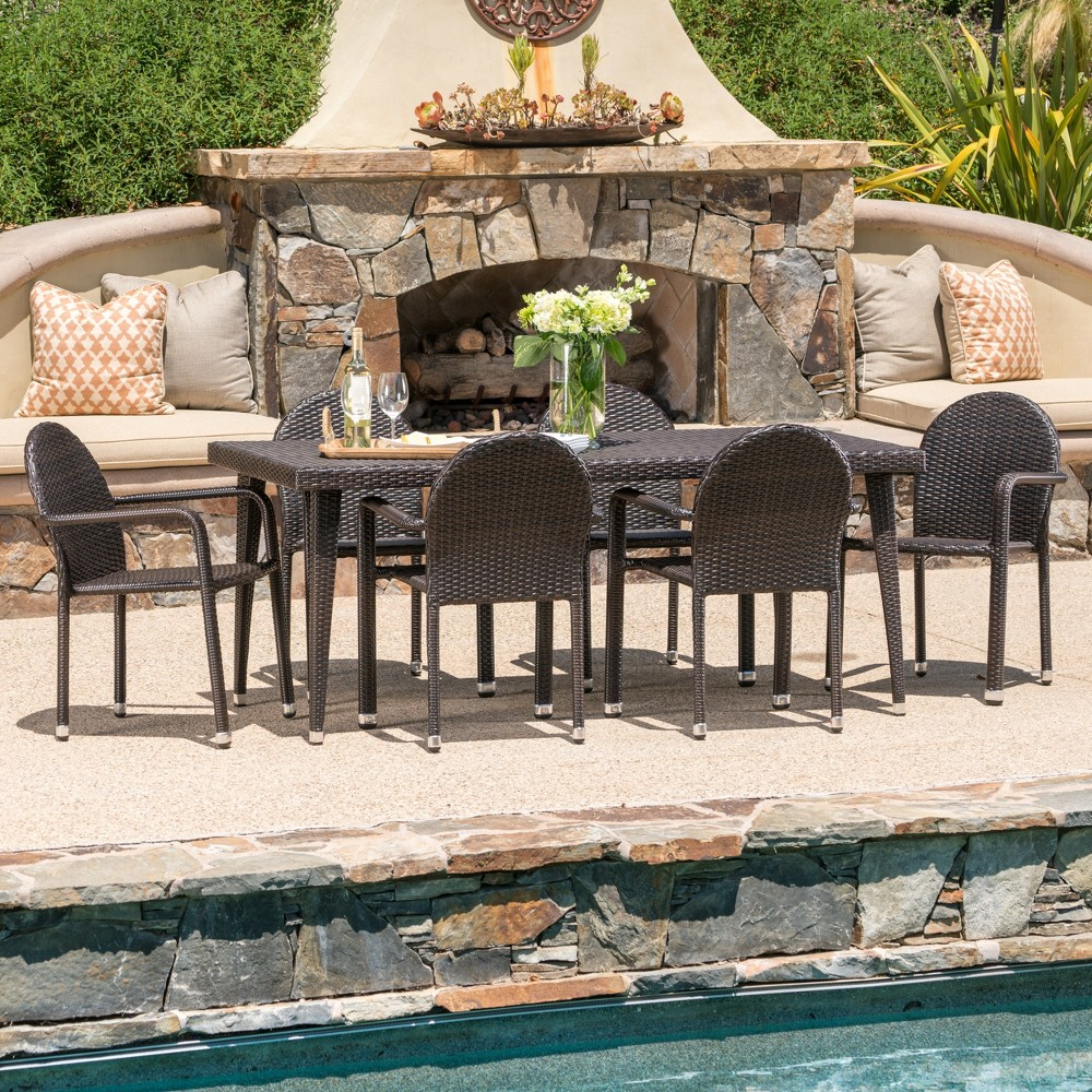 Astor 7pc Wicker Dining Set - Brown - Christopher Knight Home