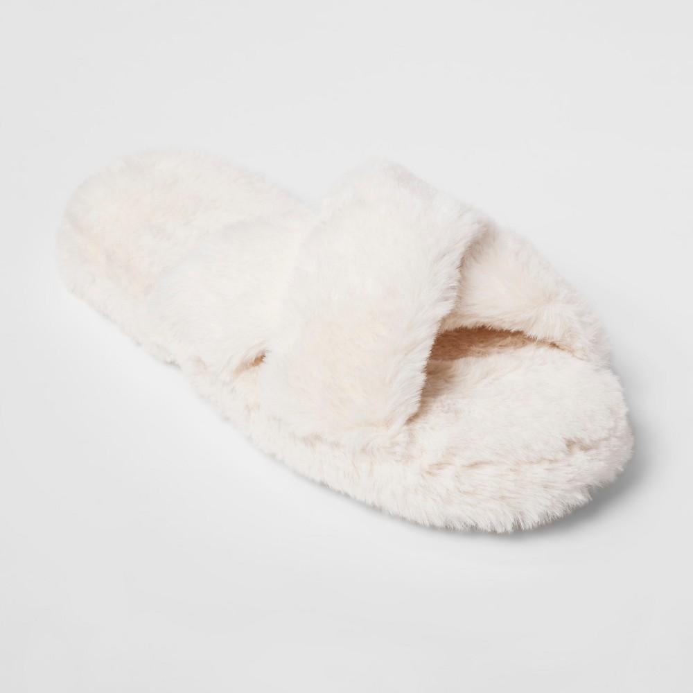 Women's Cozy Slide Slipper - Xhilaration Cream (Ivory) M