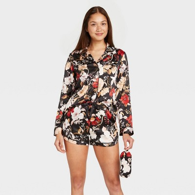 Women's 3pc Floral Print Satin Long Sleeve Notch Collar Top and Shorts Pajama Set with Eye Cover- Stars Above™ Black XL
