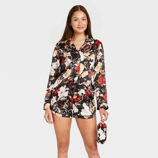 Women's 3pc Floral Print Satin Long Sleeve Notch Collar Top and Shorts Pajama Set with Eye Cover- Stars Above™ Black XS