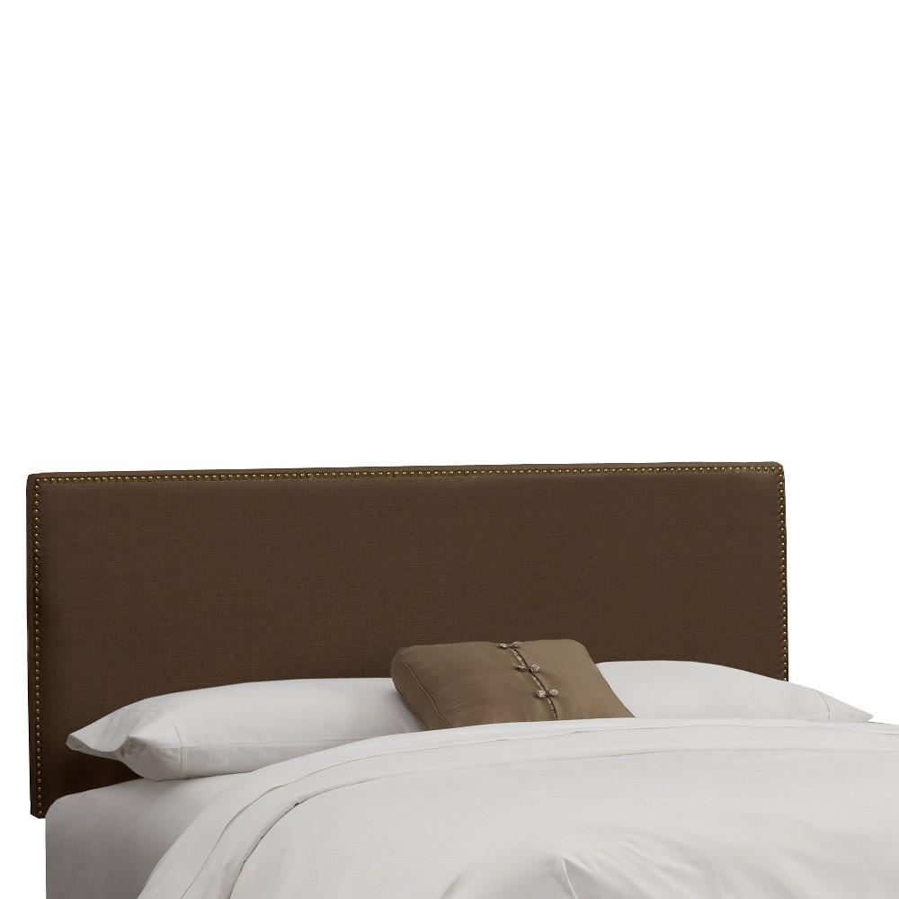 California King Arcadia Nailbutton Headboard Linen Chocolate With Brass Nail Buttons Skyline Furniture