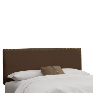 Twin Arcadia Nailbutton Headboard Linen Chocolate with Brass Nail Buttons - Skyline Furniture, Linen Brown