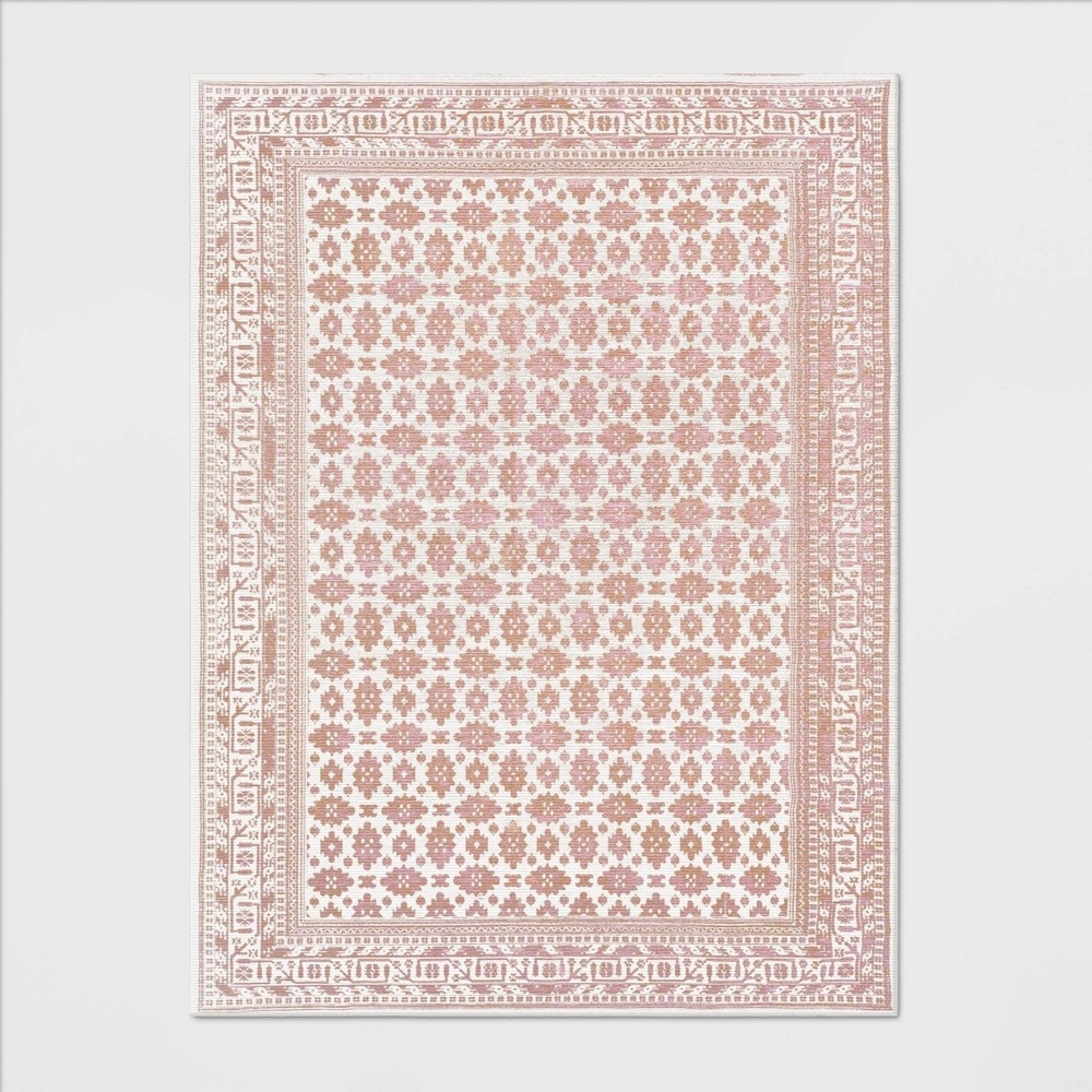 9'X12' Indoor/Outdoor Floral Woven Area Rug Blush - Threshold