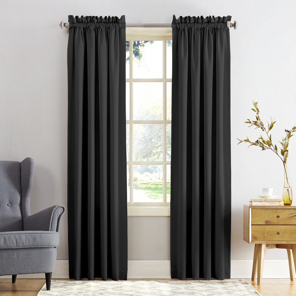Seymour Energy Efficient Rod Pocket Curtain Panel Black 54