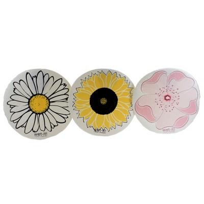"Swedish Dish Cloth 9.25"" Round Flowers Set/3 Absorbantsunflower Daisy  -  Dish Cloth"