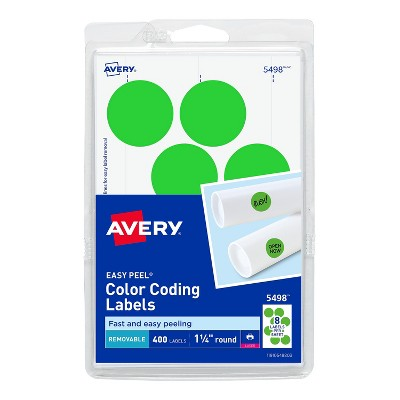 """Avery Laser Color Coding Labels 1 1/4"""" Dia. Neon Green 8/Sheet 13291"""