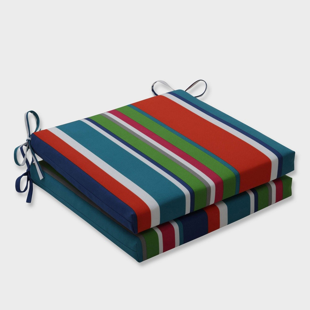 20 X 20 X 3 2pk St Lucia Stripe Squared Corners Outdoor Seat Cushions Blue Pillow Perfect