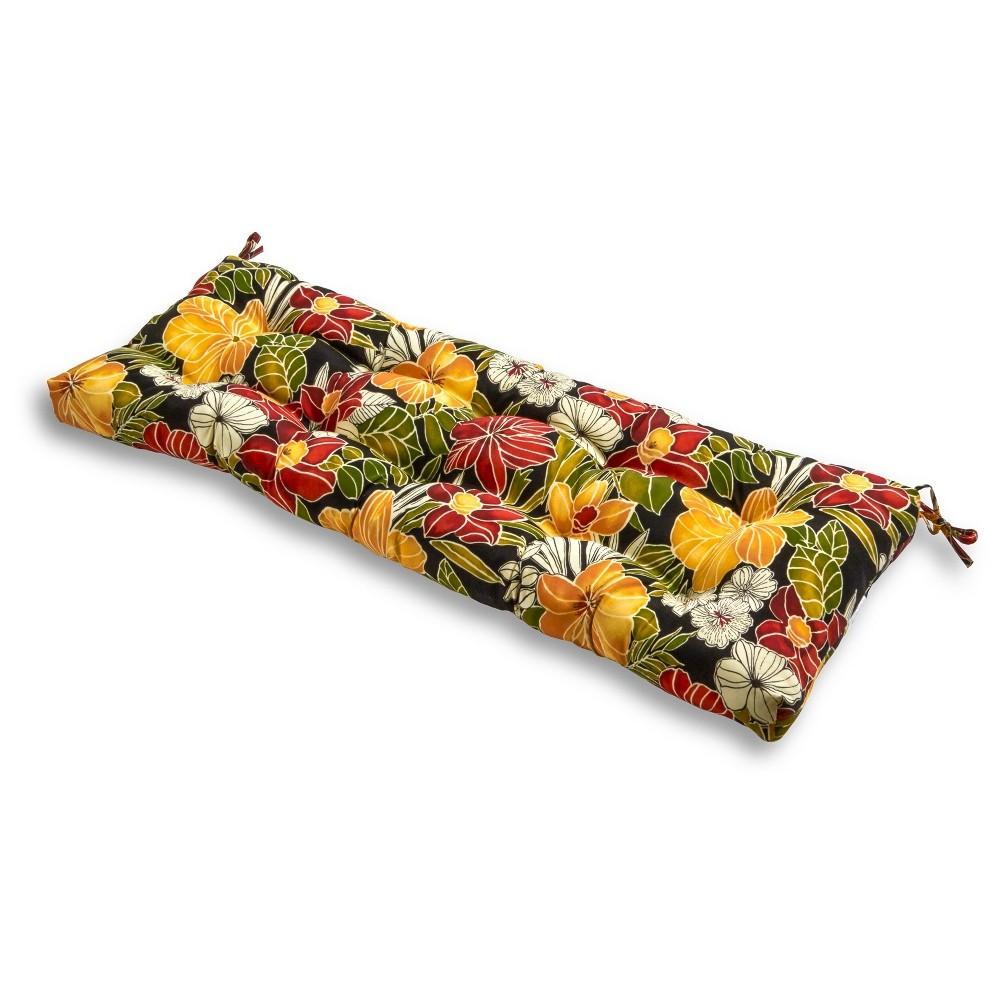 Image of Aloha Black Floral Outdoor Bench Cushion - Kensington Garden