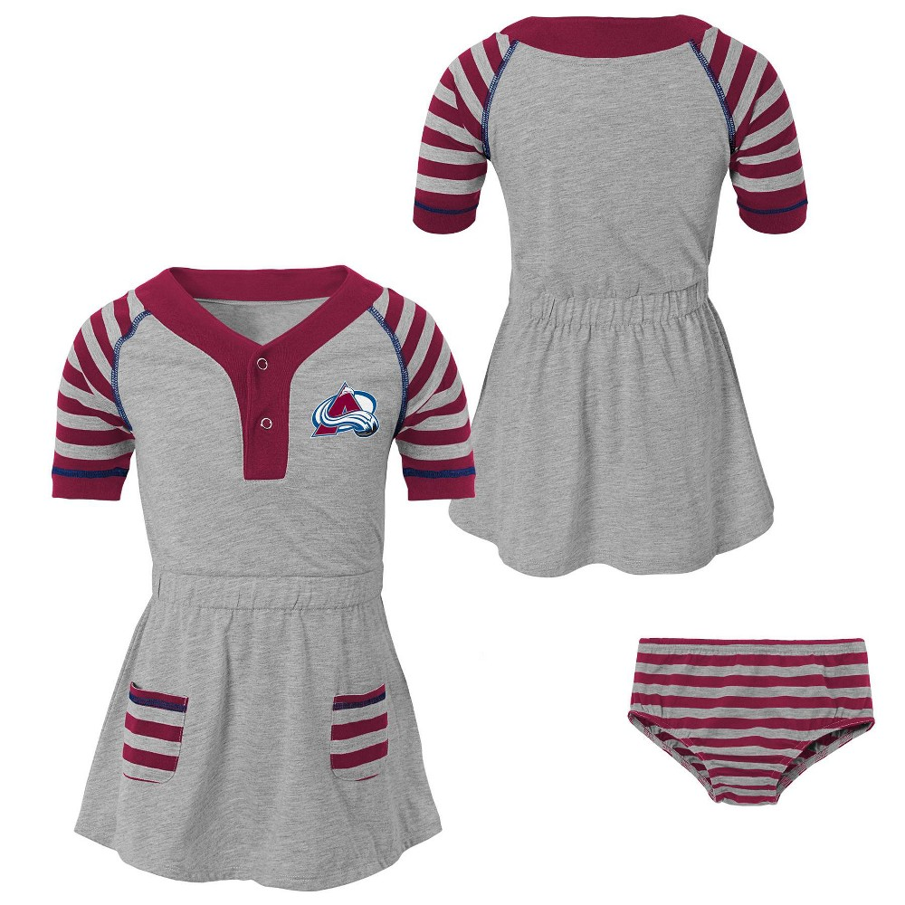 Colorado Avalanche Girls' Infant/Toddler Striped Gray Dress - 18M, Multicolored