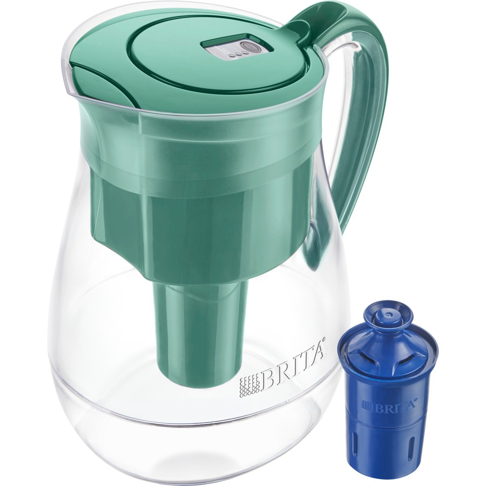 Image of Brita Large 10 Cup BPA Free Water Pitcher with 1 Longlast Filter - Green
