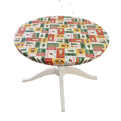 Lakeside Christmas Elves Custom Fit Round Tablecloth Cover for the Holidays