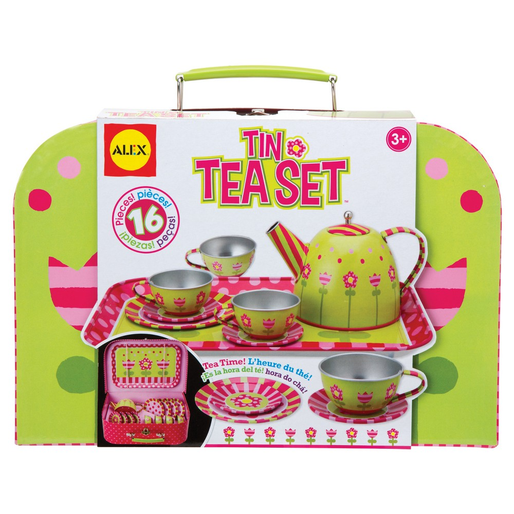 Alex Toys Tin Tea Set, Play Food and Toy Kitchens This Alex Tea Set includes everything they'll need to host the perfect tea party and comes in a cute polka-dotted tin. It contains enough cups, saucers and plates, all with beautiful floral patterns, to entertain a child and 3 guests. Gender: Female.