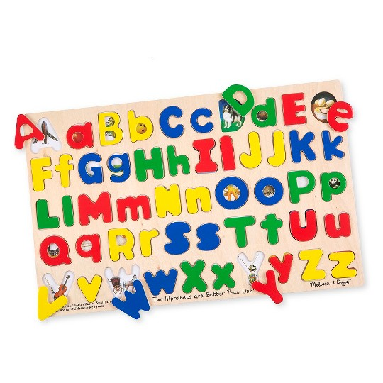 Melissa & Doug Upper & Lower Case Alphabet Letters Wooden Puzzle (52pc) image number null