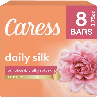 Caress Daily Silk White Peach & Orange Blossom Scent Bar Soap - 8pk - 3.75oz each