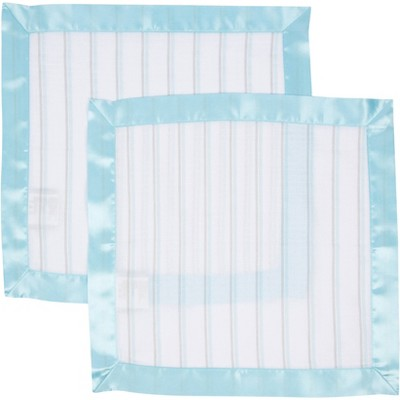 MiracleWare Muslin Security Blanket Blue Stripes - 2 Pack