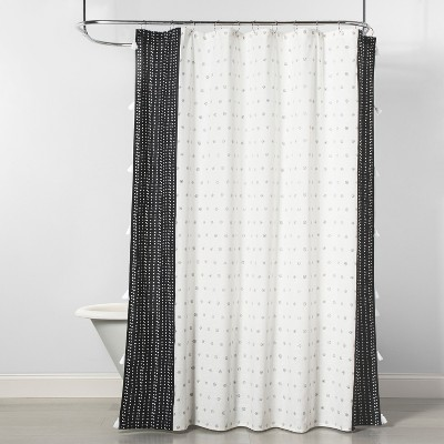Dots Floral Shower Curtain Black/Cream - Opalhouse™