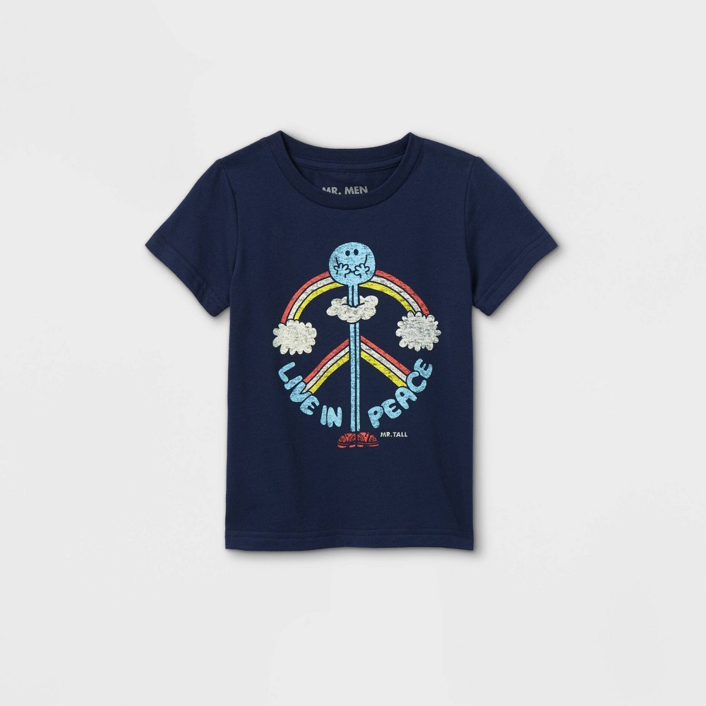 Toddler Boys 39 Mr Men And Little Miss Live In Peach Short Sleeve Graphic T Shirt Navy 12m