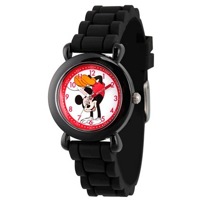 Disney Mickey Mouse Boys' Black Plastic Time Teacher Watch, Black Silicone Strap, WDS000141