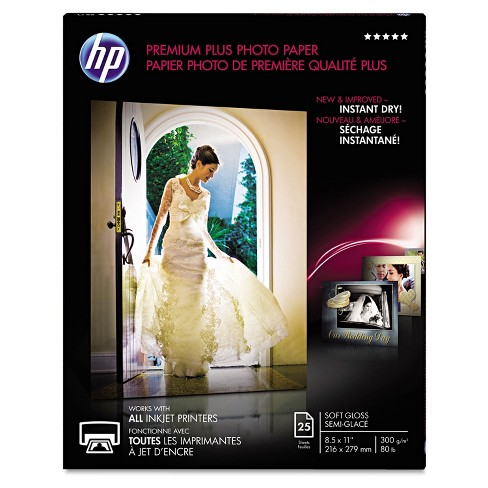 Hp Premium Plus Photo Paper 80 lbs. Soft-Gloss 8-1/2 x 11 25 Sheets/Pack CR671A - image 1 of 1