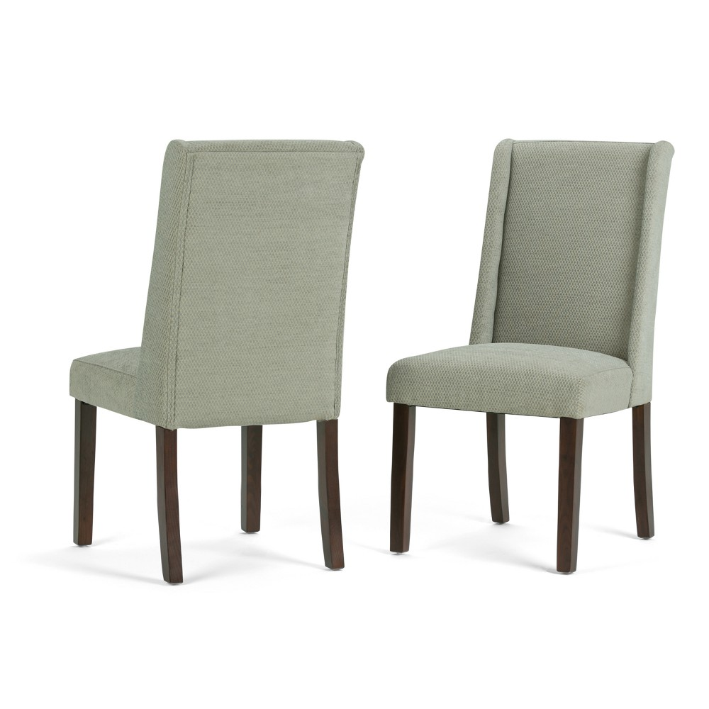 Sedona Deluxe Dining Chair Set of 2 Mist Woven Fabric Seamist - Wyndenhall