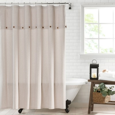 "Tucker Ticking Stripe Button Fabric Shower Curtain - 72"" x 72"" - Elrene Home Fashions"