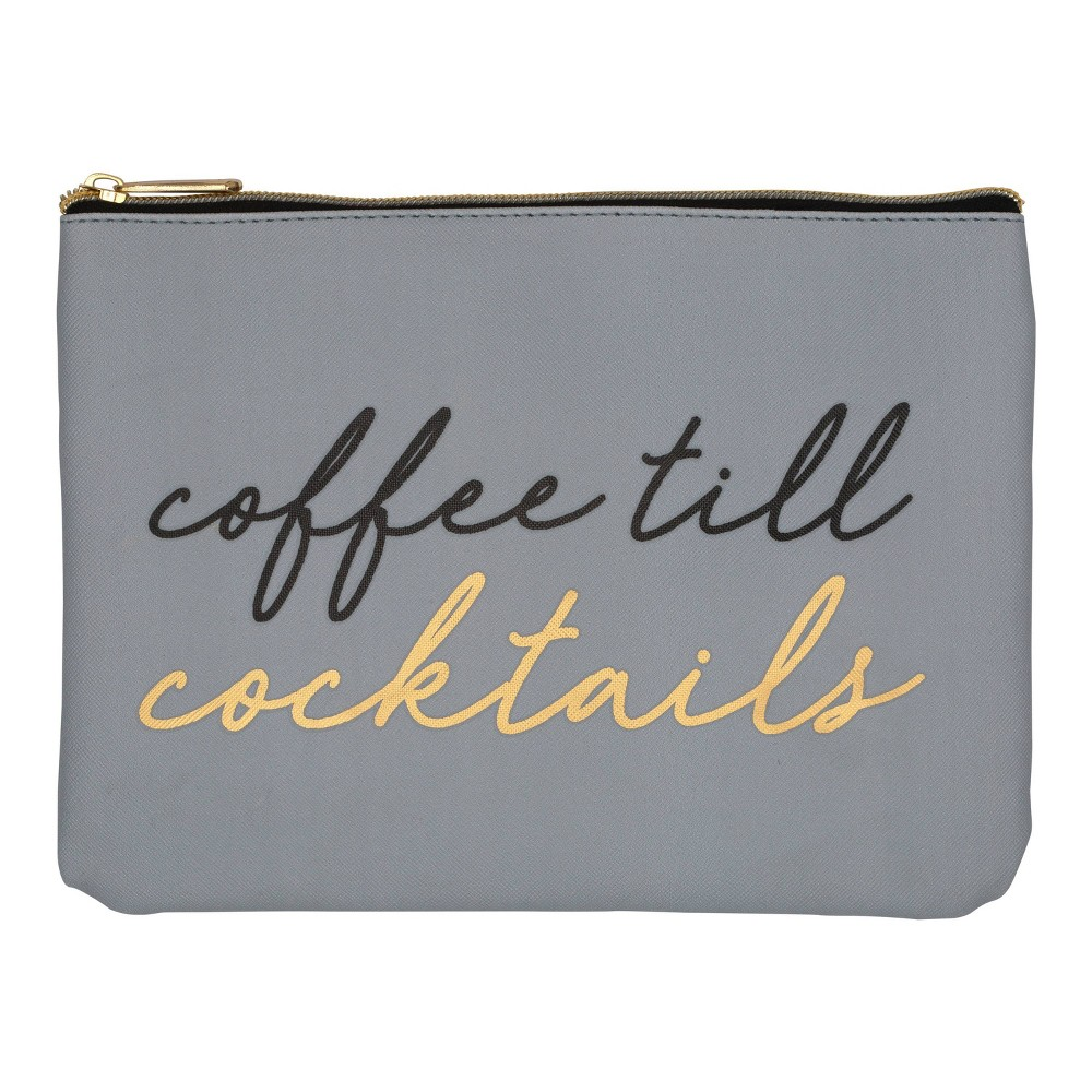 Image of Ruby+Cash Faux Leather Makeup Bag & Organizer - Coffee Till Cocktails