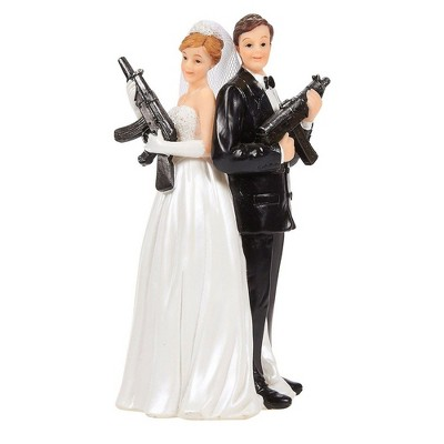 Juvale Bride Groom Holding Rifles Figurines Wedding Cake Topper, Wedding Party Cake Decorations Gifts